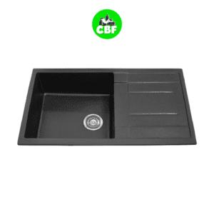 CBF S8650D-B - Black Kitchen Sink - Single Bowl with Drainer - 860 x 500mm