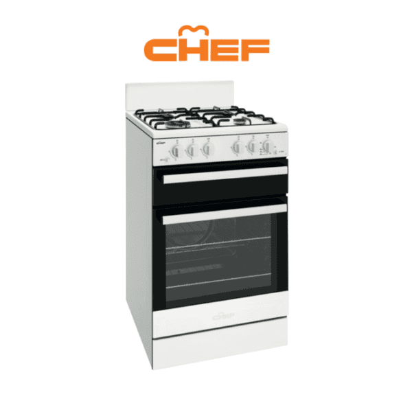 Chef CFG503WBLP – 54cm LPG Gas Upright Cooker